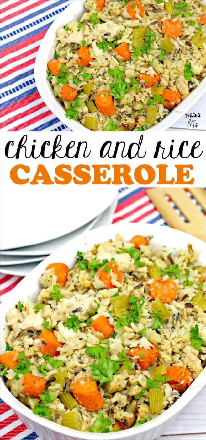 This Chicken and Rice Casserole is a complete meal in one dish! You have chicken, wild rice and veggies cooked into a tasty casserole. Add a side salad and you are good to go! #chickenandricecasserole #casserole #dinner #dinnerideas