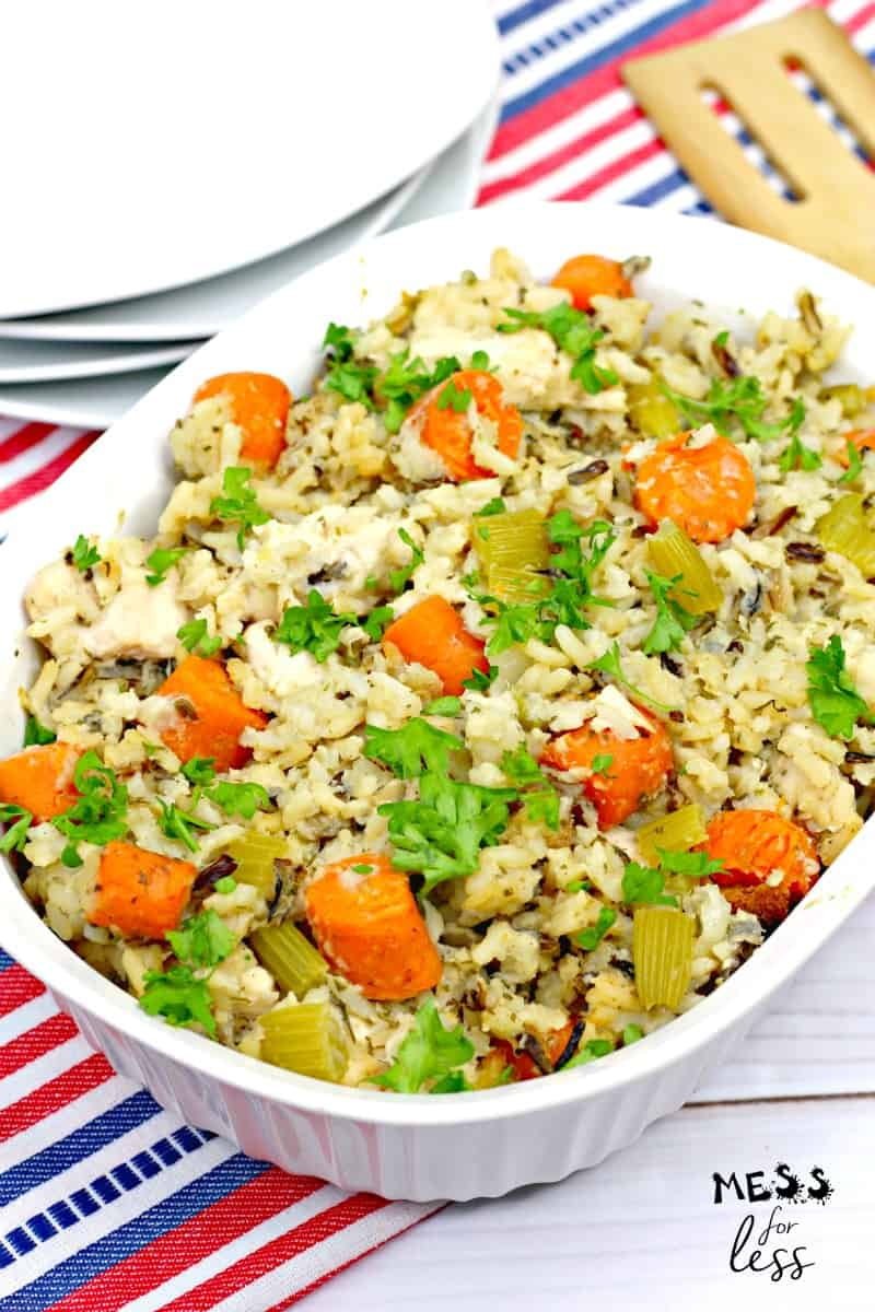 chicken and rice casserole in a bowl
