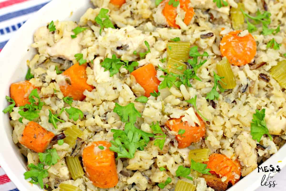 chicken and rice casserole with carrots and celery