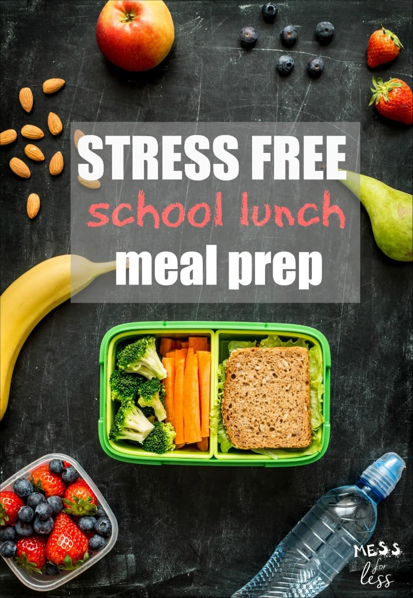 End stressful mornings with these Stress Free School Lunch Meal Prep tips. I have some actionable ideas to help you get organized so that packing school lunches becomes quick and easy. #mealprep #lunchprep #kidslunch #schoollunch