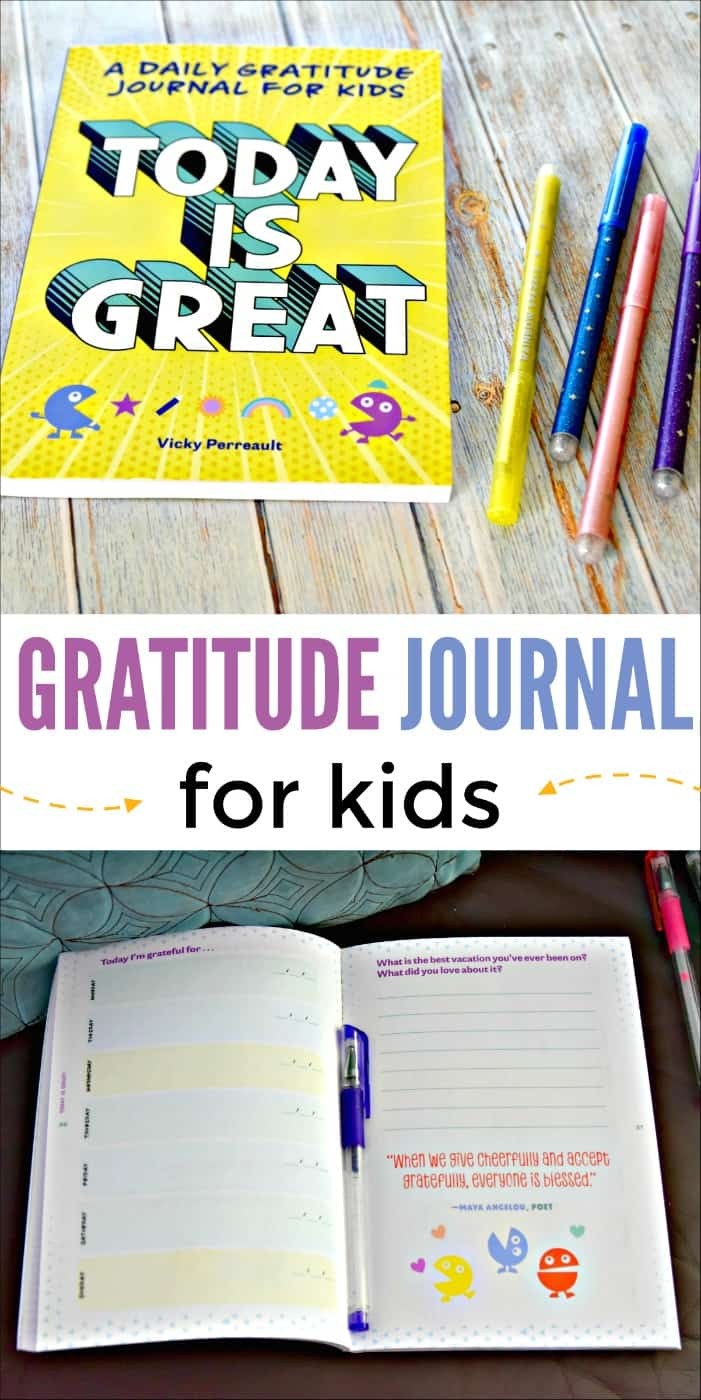Today is Great is a gratitude journal for kids. It inspires kids by giving them a place to write down what they are grateful for each day. It also includes gratitude challenges that allow kids to do something nice for someone.