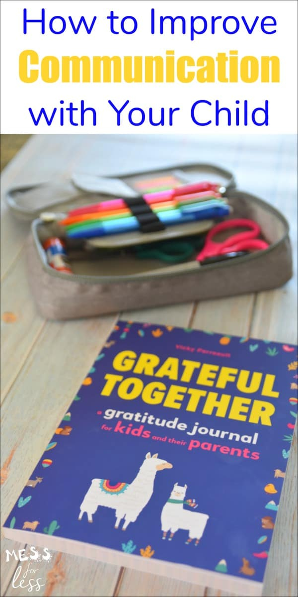 Grateful Together is a shared journal for parents or caregivers and their child. The journal is meant to be passed back and forth as parents and children answer questions meant to inspire gratitude. #gratitudejournal #kidsjournal #gratitude