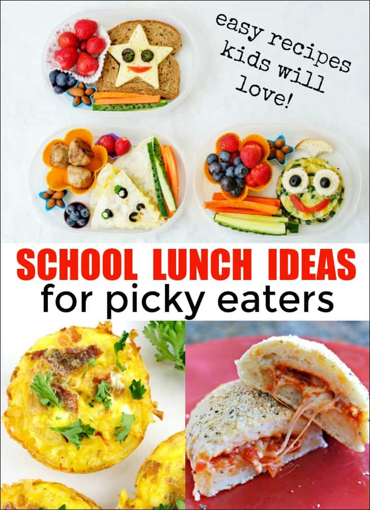 If your kids are picky eaters then packing school lunch can be stressful. Here are some school lunch ideas for picky eaters that they are sure to love! #pickyeaters #schoollunch #kidslunch #kidslunchideas
