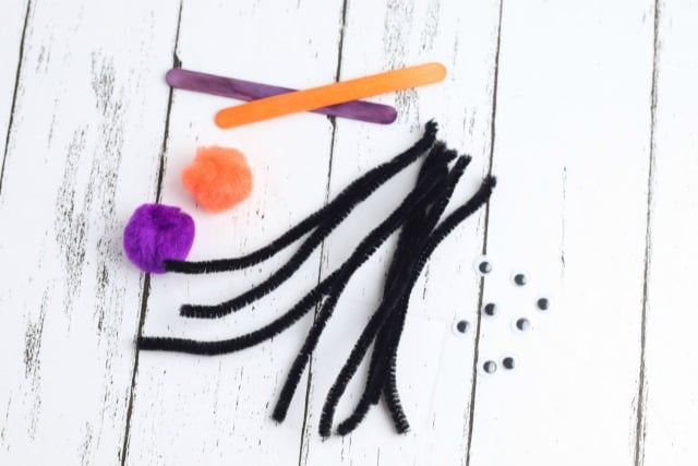 black pipe cleaners and pom poms