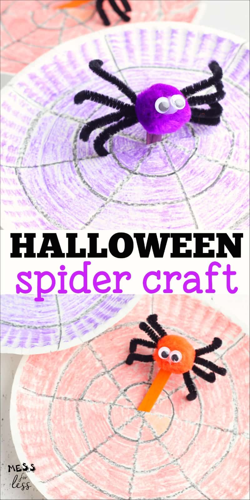 This adorable Spider Craft for Kids is perfect for Halloween. I love how it is a craft that kids can play with as they move the spider around on his web! #halloween #spidercraft #kidscraft #halloweencraft