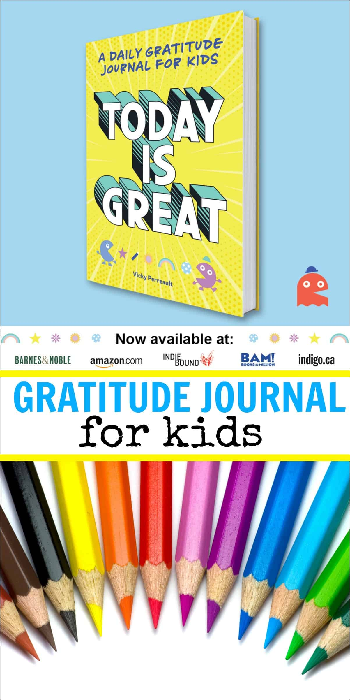 Today is Great is a daily gratitude journal for kids where they can practice building a habit or gratitude by writing and doing gratitude challenges. #kidsjournal #kidsbook #journalingwithkids