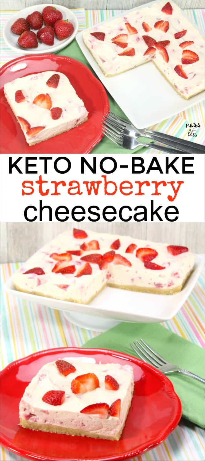 You won't believe how much this Keto No Bake Strawberry Cheesecake tastes like the real thing! If you are on a Keto or low carb diet, you must try this dessert. #keto #lowcarb