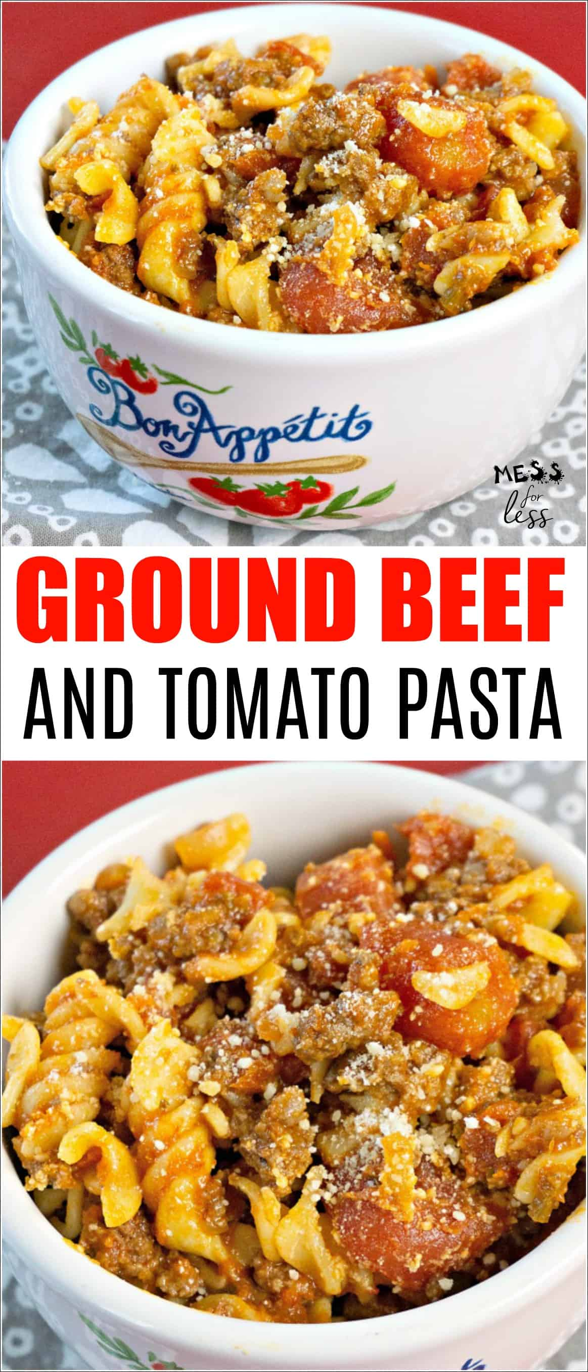 This Beef and Tomato Pasta needs only 4 ingredients and 30 minutes to make. Talk about easy! It is a delicious dinner option that the whole family will love. #pastadinner #dinneridea #pastarecipe