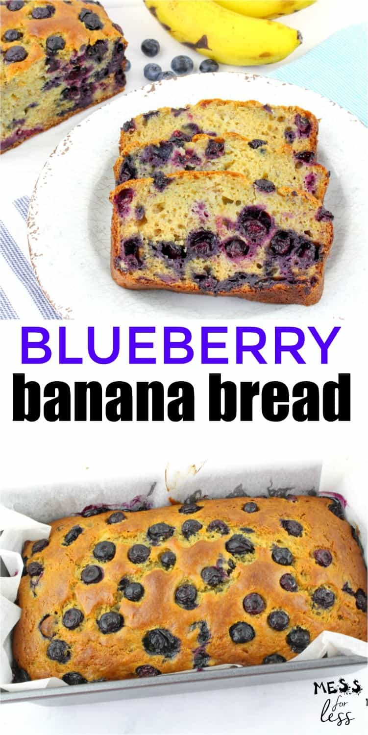 This Blueberry Banana Bread Recipe is a fun twist on a traditional banana bread recipe. The addition of blueberries adds a sweetness and moistness to the banana bread that just hits the spot.  #blueberrybread #baking #bananabreadrecipes