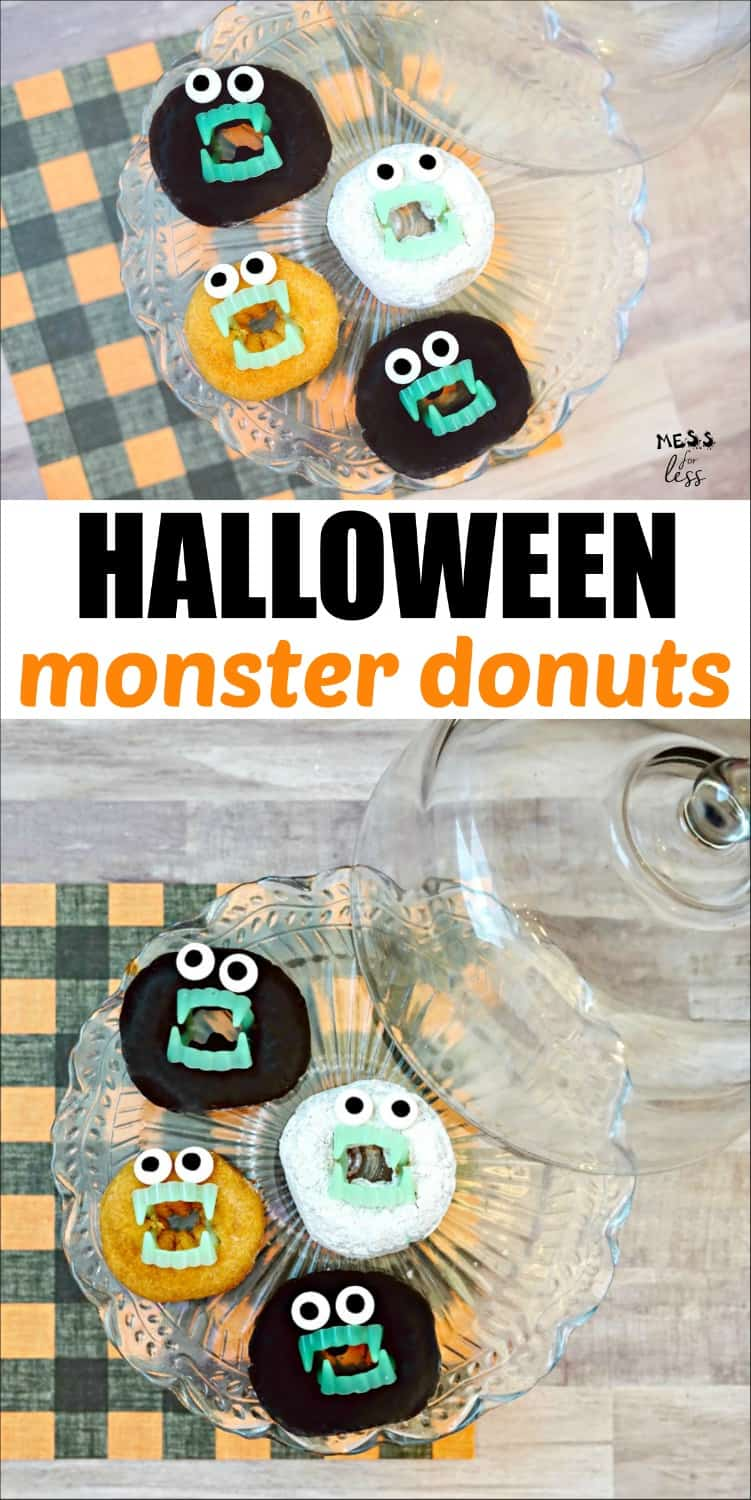 Learn how to make these Halloween Monster Donuts. They are great for a class party or even just to celebrate with friends at home. #halloween #halloweentreats #donuts #halloweensnack