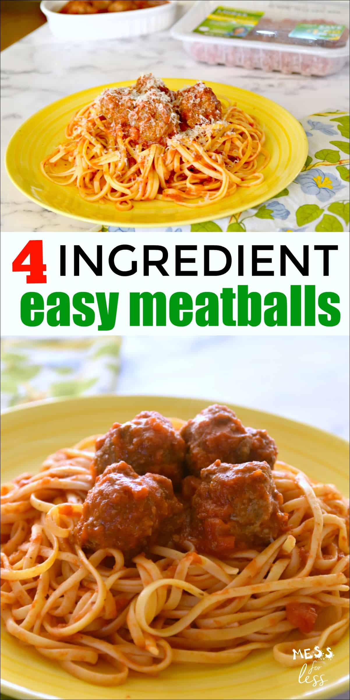 #ad I created these 4 Ingredient Easy Meatballs to help you spend less time cooking, and more time with your family while savoring a great meal. @LaurasLean #LaurasLean #NVREVR #noantibiotics #noaddedhormones #allnatural