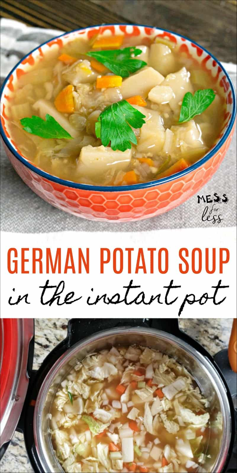 This German Potato Soup in the Instant Pot is hearty and delicious and ready in just 10 minutes! #instantpot #instantpotrecipes #instantpotsoup #soup #souprecipe