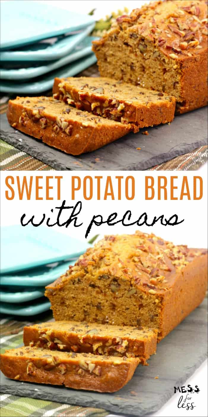 You'll love this delicious recipe for Sweet Potato Bread with Pecans. If you love sweet potatoes, then you have to try this moist and tender bread. You can also use this recipe to make muffins. #bread #sweetpotatoes #sweetpotatobread #recipe
