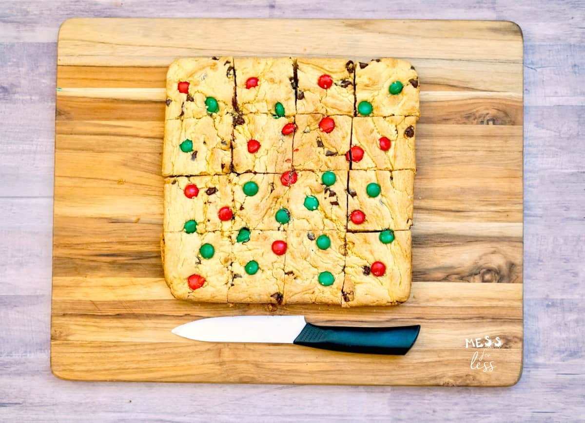 sliced christmas cookie cake bars