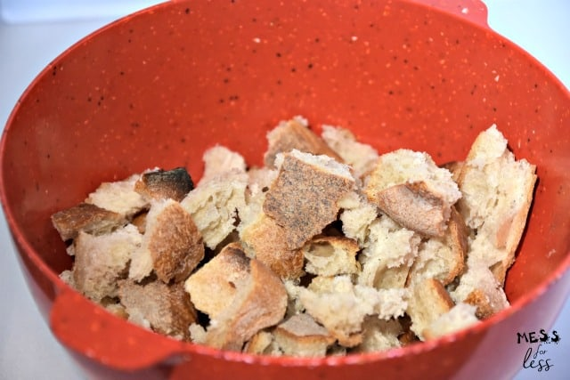 torn bread in a bowl
