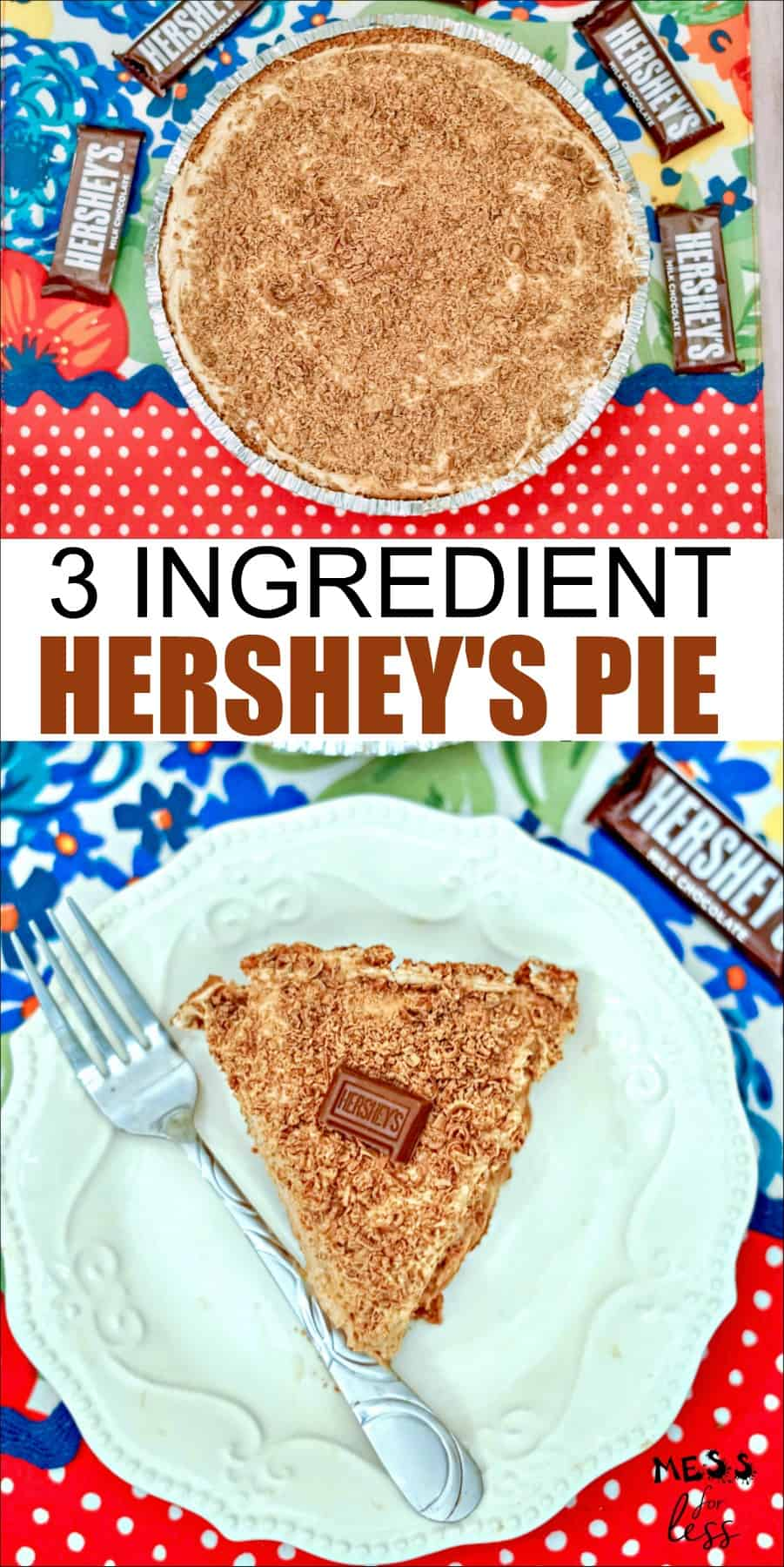 This no-bake 3 Ingredient Hershey's Chocolate Pie is the perfect dessert to make when you are in a hurry, or just don't want to spend a lot of time making a complicated dessert. Delicious and full of chocolate flavor! #nobakepie #chocolatepie #hersheyspie