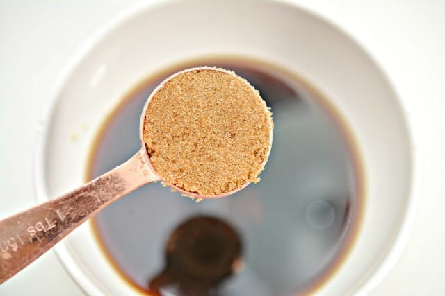brown sugar on a spoon