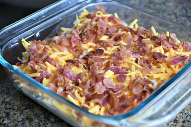 casserole topped with bacon