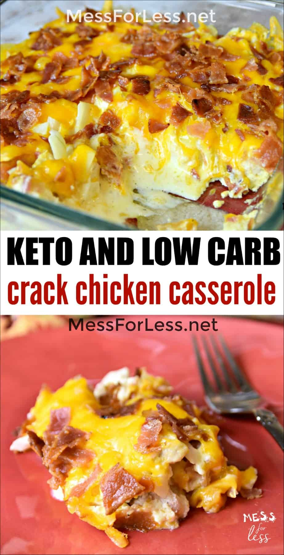 This Keto Crack Chicken Casserole is addictive! Cheese and bacon combine with chicken in this creamy low carb dish. #keto #lowcarb #crackchicken #ketocrackchicken