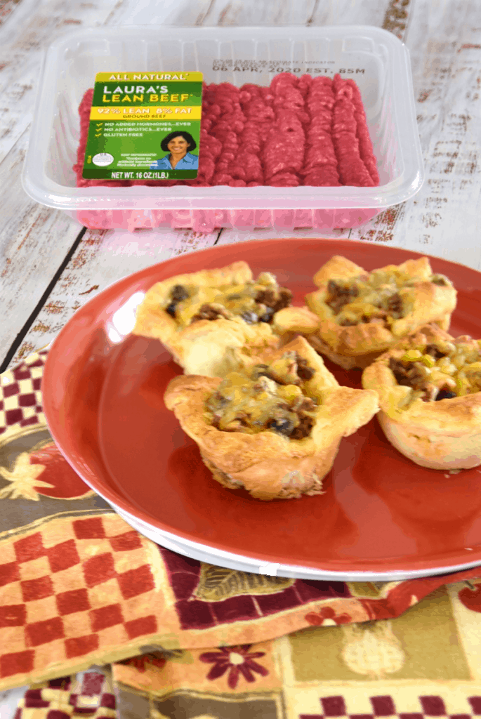 cheesy beef taco crescent cups and ground beef