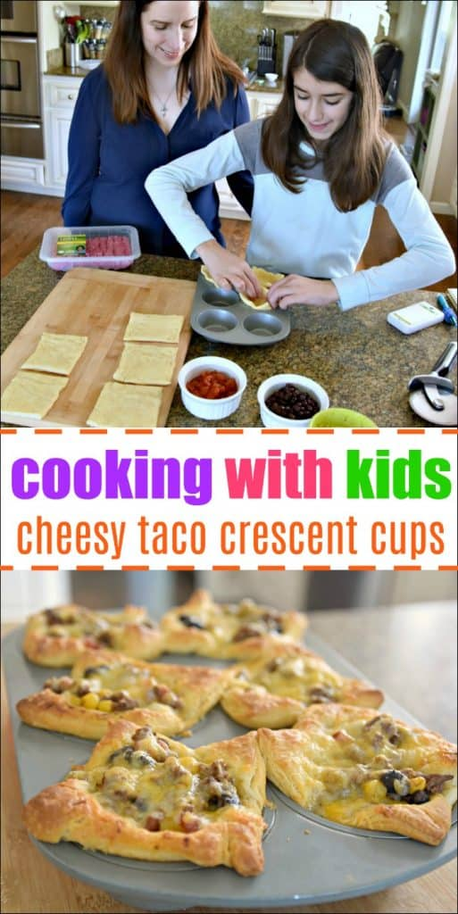 child making cheesy taco crescent cups