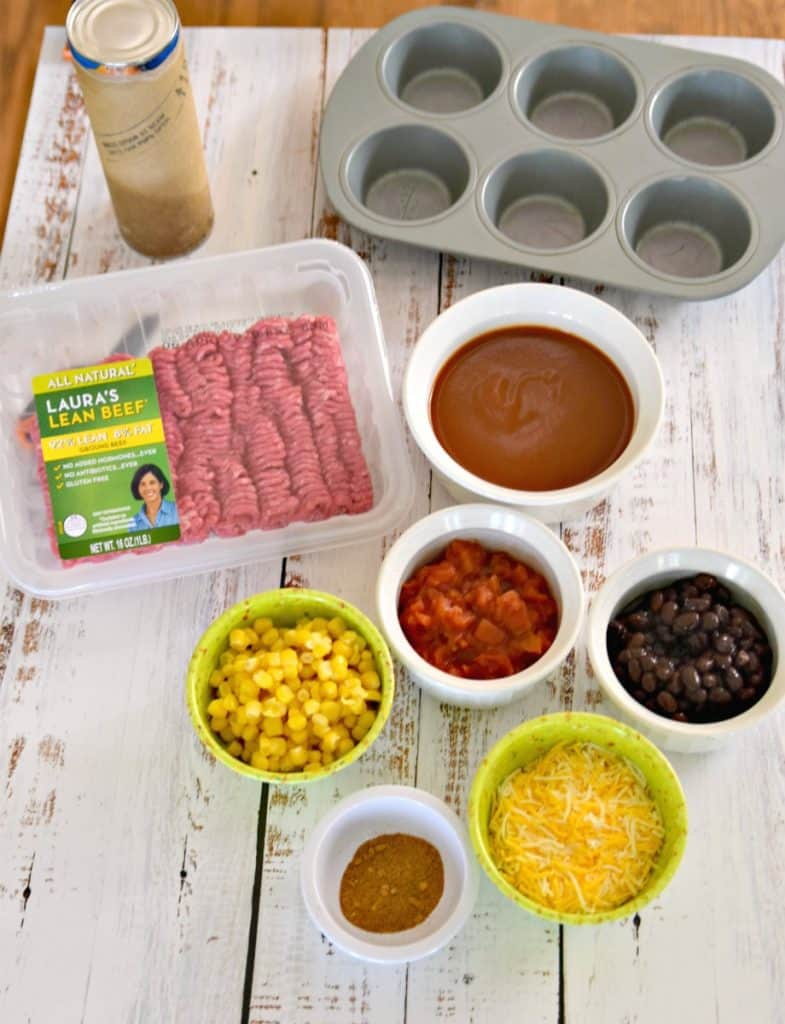 ingredients for beef taco crescent cups