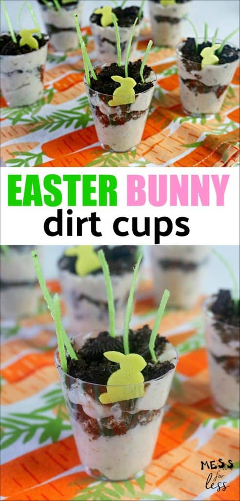 Easter Bunny Dirt Cups made with pudding and oreos