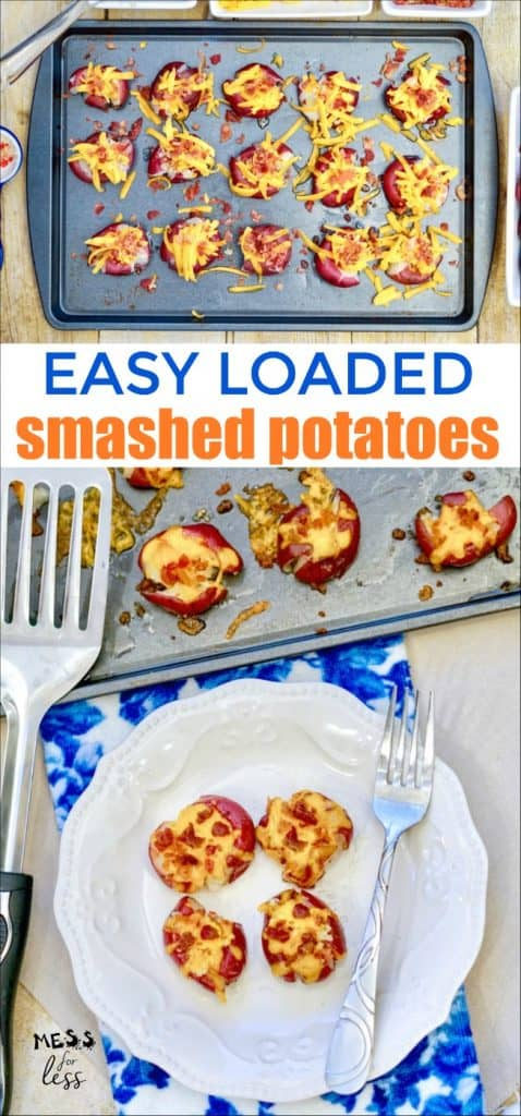 If you've enjoyed loaded potato skins or a loaded baked potato in the past, you are in for a treat. These Easy Loaded Smashed Potatoes have all the baked potato flavors you love in a simple side dish. #smashedpotatoes #loadedpotatoes #potatorecipe