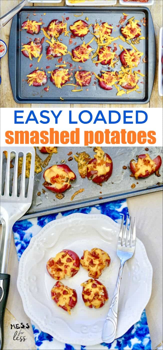 If you\'ve enjoyed loaded potato skins or a loaded baked potato in the past, you are in for a treat. These Easy Loaded Smashed Potatoes have all the baked potato flavors you love in a simple side dish. #smashedpotatoes #loadedpotatoes #potatorecipe