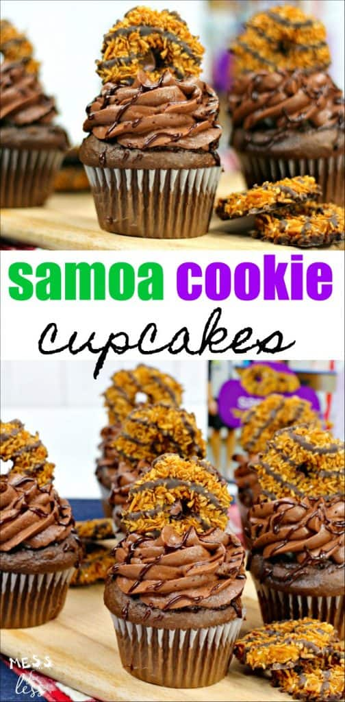 Chocolate cupcakes topped with Samoa cookies