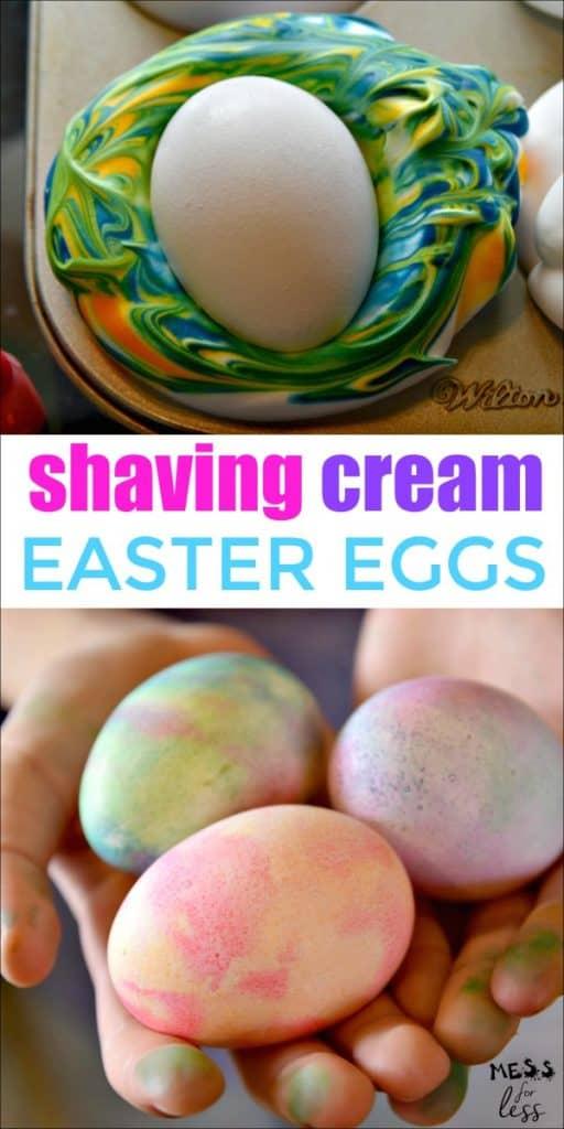 shaving cream decorated Easter Eggs