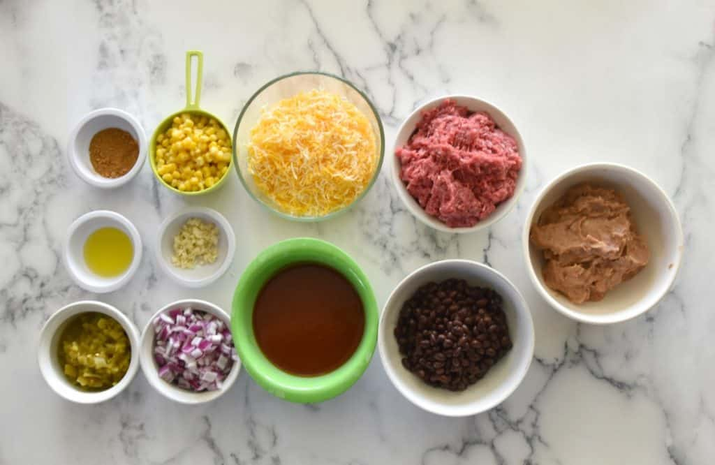 ingredients for bean and beef enchilada dip