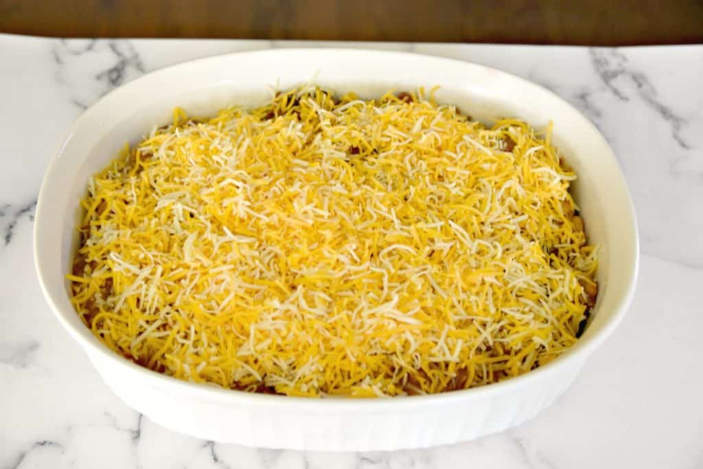 beef and bean enchilada dip with cheese