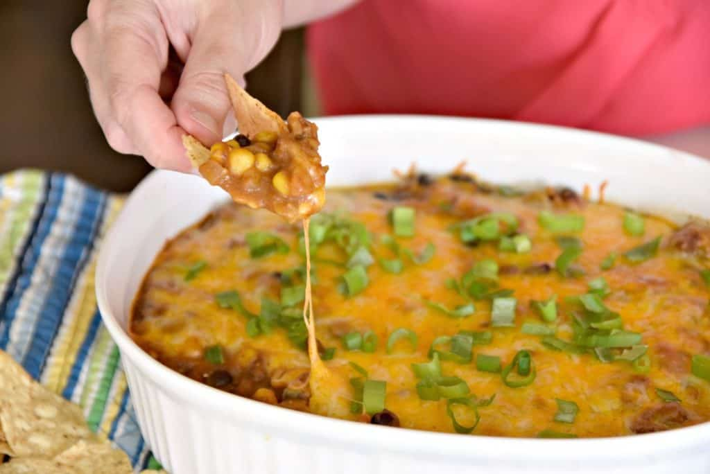 cheesy beef and bean enchilada dip