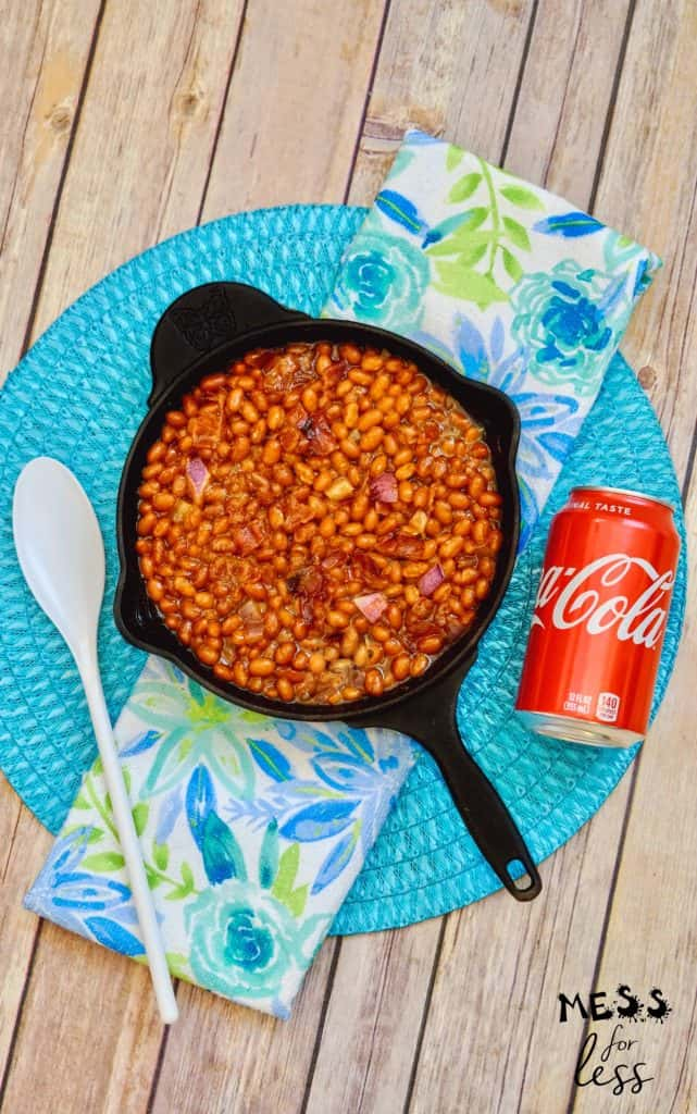 coca cola baked beans in a skillet