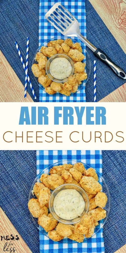 These Air Fryer Cheese Curds are simple to make and are the perfect appetizer or side dish. Make them at home for a fraction of the price they would cost at a restaurant. #airfryer #cheesecurds