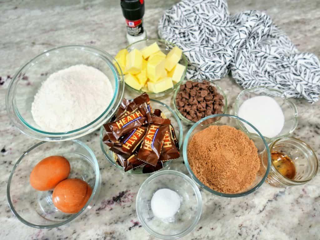 ingredients to make heath bar cookies