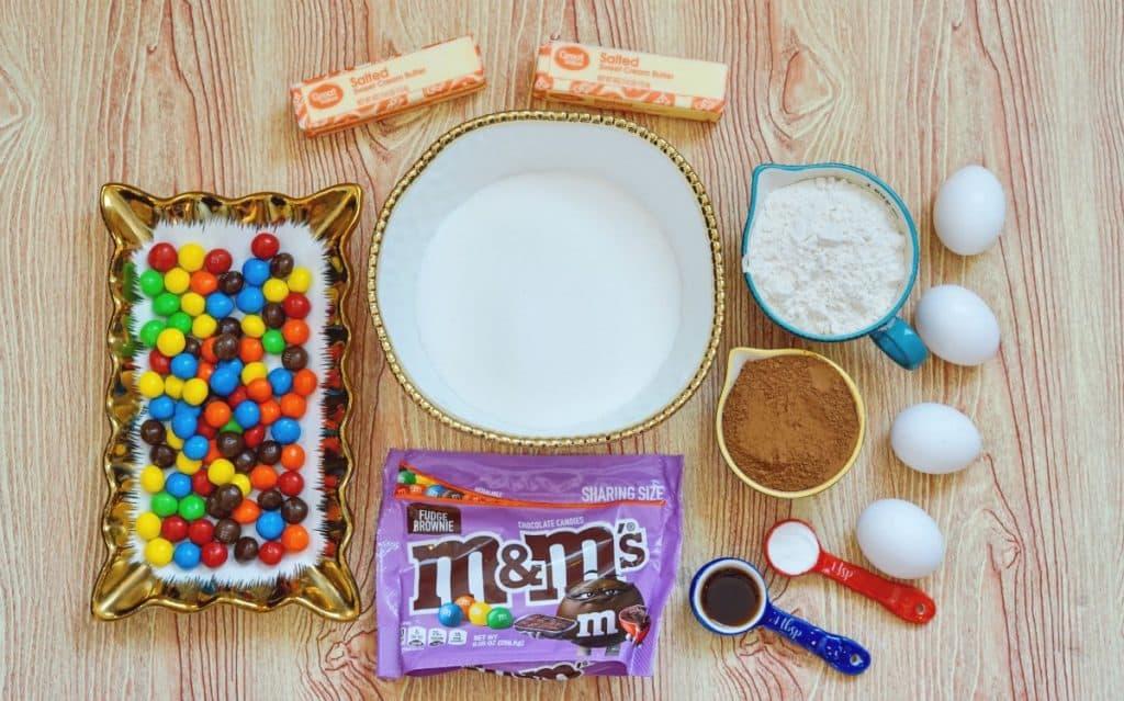 ingredients for M&M brownies