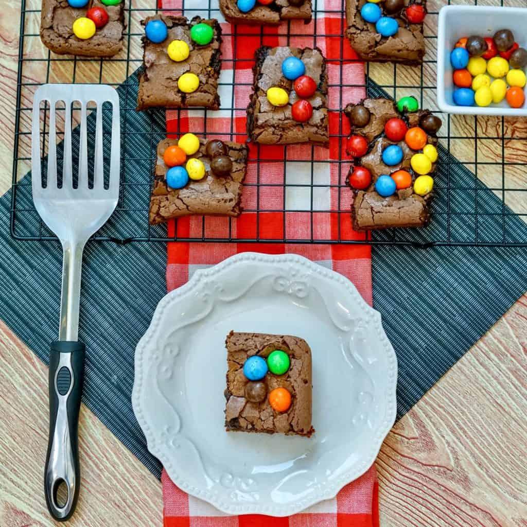homemade m&m brownies