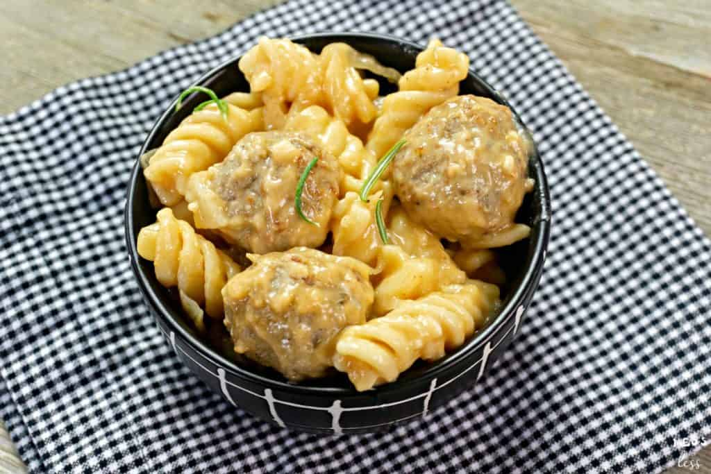 Swedish Meatballs in a black bowl