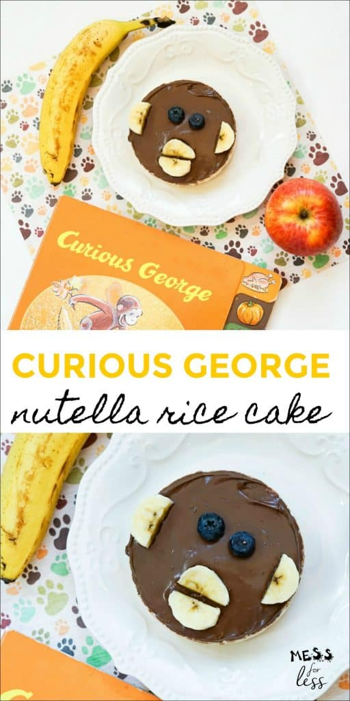 If you have a child who loves Curious George or just monkeys, you must try this adorable snack. This Monkey Rice Cake Curious George Snack, is simple to make and fun for kids to assemble themselves. #curiousgeorge #monkeysnack
