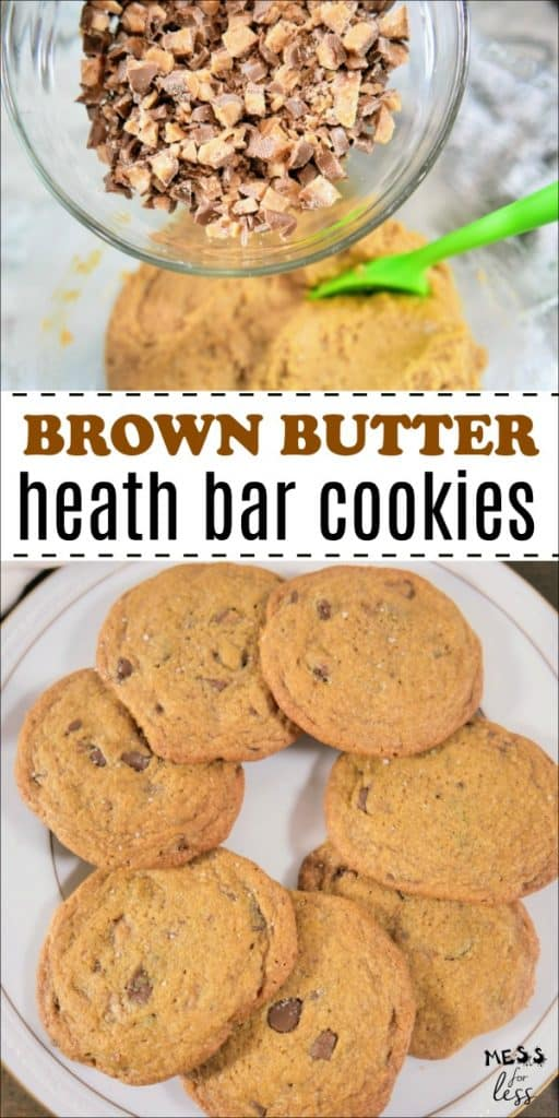 These Brown Butter Heath Bar Cookies are the perfect dessert to satisfy that sweet and salty craving, plus they are a great way to use up any extra Halloween candy. #brownbutter #heathbar #cookierecipe