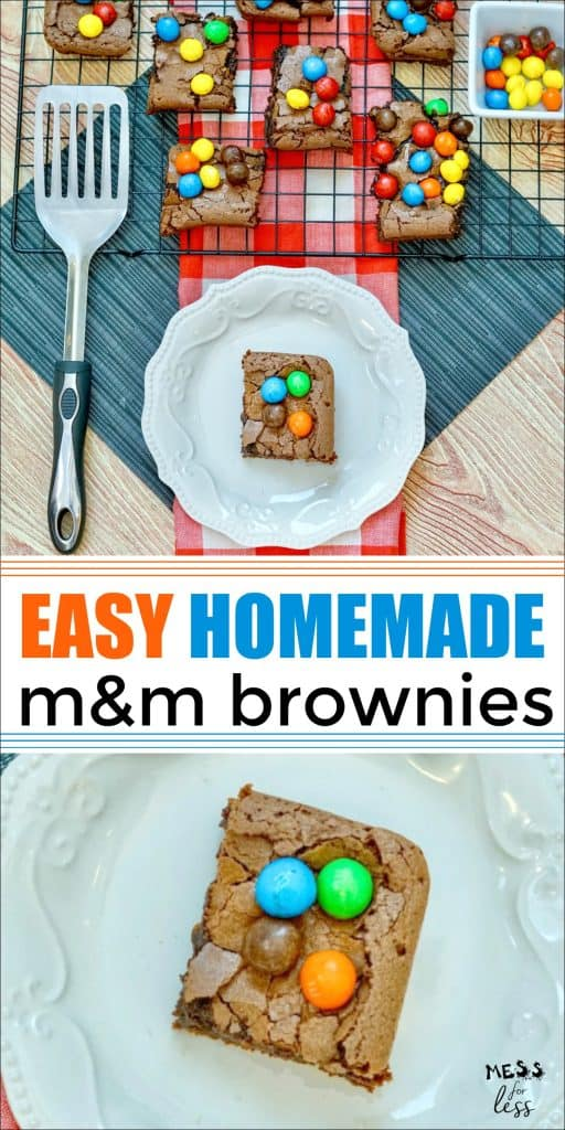 These easy M&M Brownies from Mess for Less and chewy, fudgy and delicious. So much great chocolate flavor! #brownies #brownierecipe