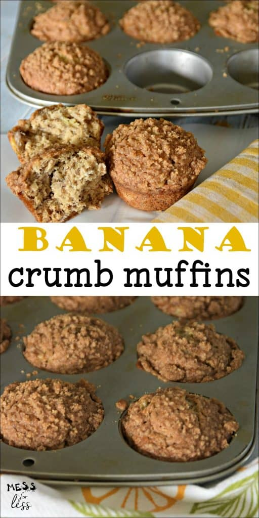 These are truly the best Banana Crumb Muffins I have ever tasted. This recipe from Mess for Less is the perfect way to use ripe bananas. #bananabread #bananamuffins