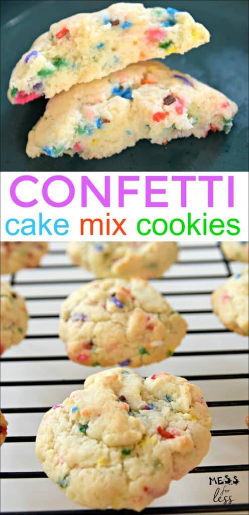 You can use boxed cake mix to make the most soft and delicious cookies you have ever tried. Just 4 Ingredients in this easy Confetti Cookies With Cake Mix from Mess for Less. #cakemixcookies #cookierecipe #confetticookies #funfetticookies