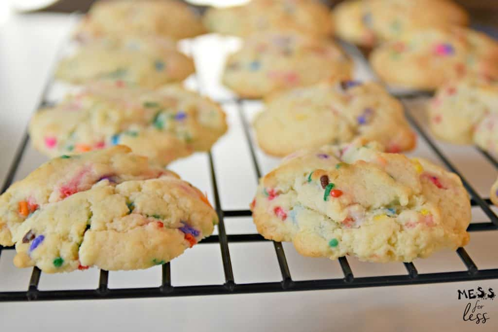 Confetti Cookies With Cake Mix cooling on a cooling rack