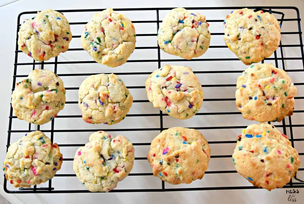 Confetti Cookies With Cake Mix on a cooling rack
