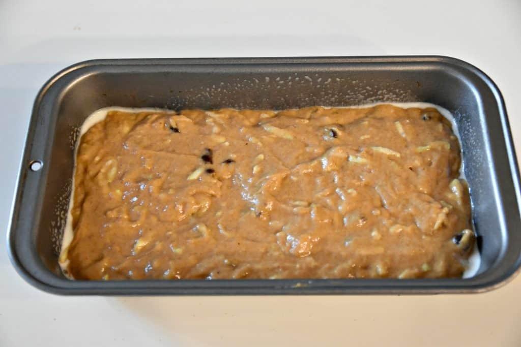 pumpkin bread batter in a bread pan