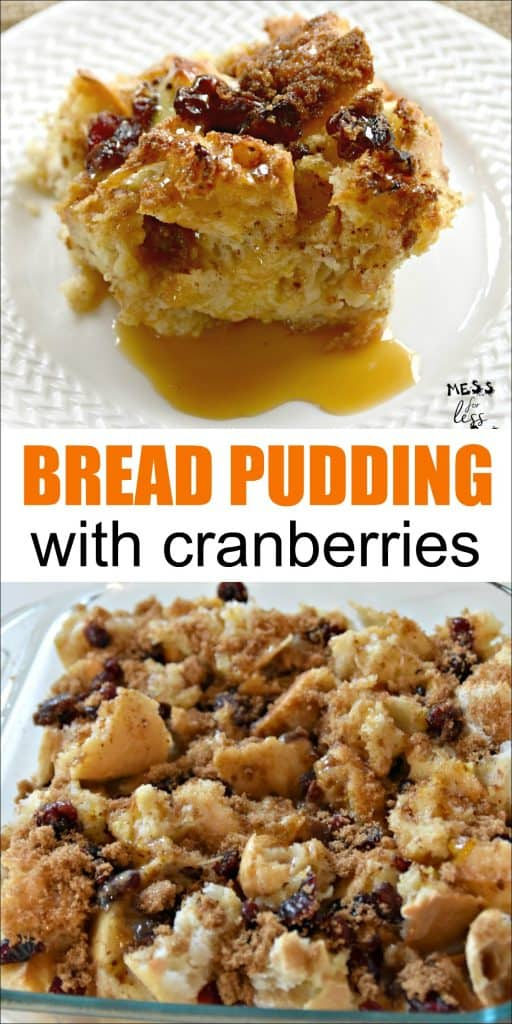 Bread pudding is traditionally considered to be a dessert, but it is so filling and delicious, you can have it for breakfast. This bread pudding recipe from Mess for Less is super easy and is a great way to use any leftover bread. #breadpudding #breadpuddingrecipe