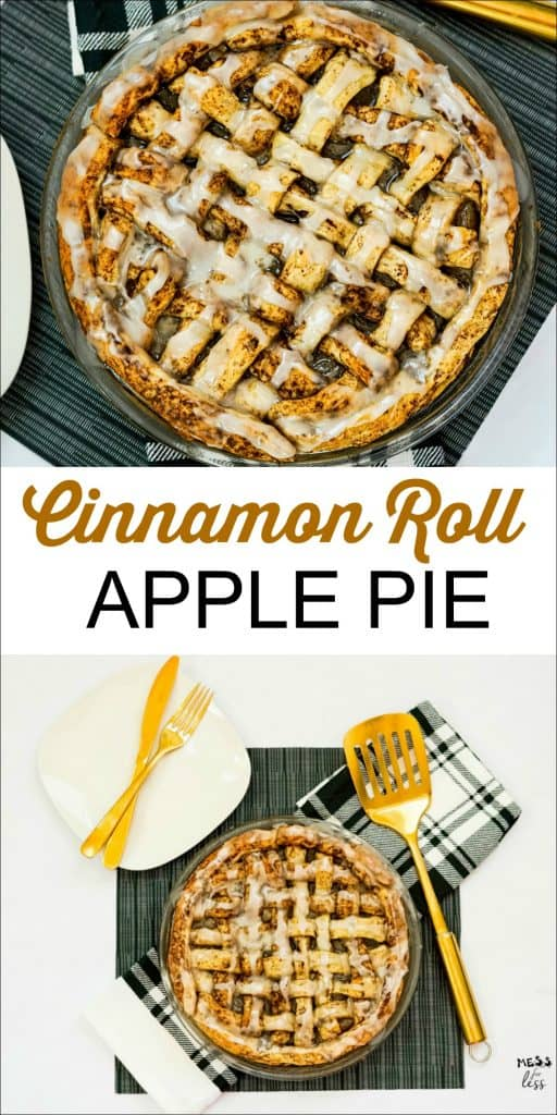 If you love a good apple pie, but not all the work associated with making one, you will love this easy Cinnamon Roll Apple Pie. It uses a few supermarket shortcuts to make delicious apple pie without all the work. #applepie #cinnamonroll